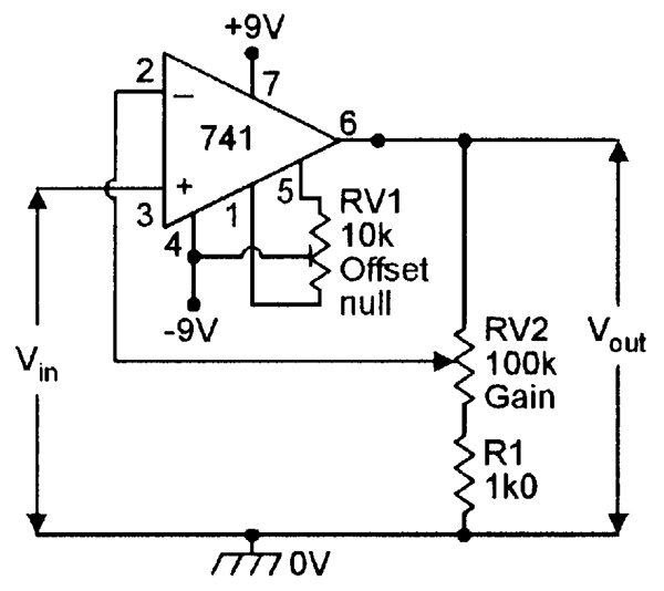 circuit diagram of non inverting amplifier xtm winch wiring op amp cookbook part 2 nuts volts magazine dc with offset nulling facility and x10 gain