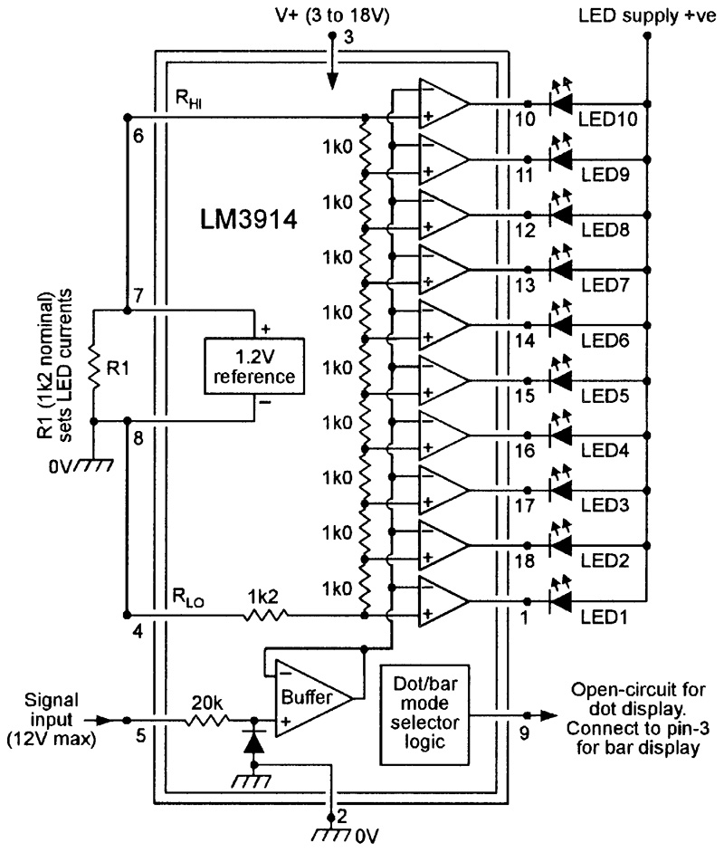 Lm3914 Application Circuits Lm3914 Circuit Diagram