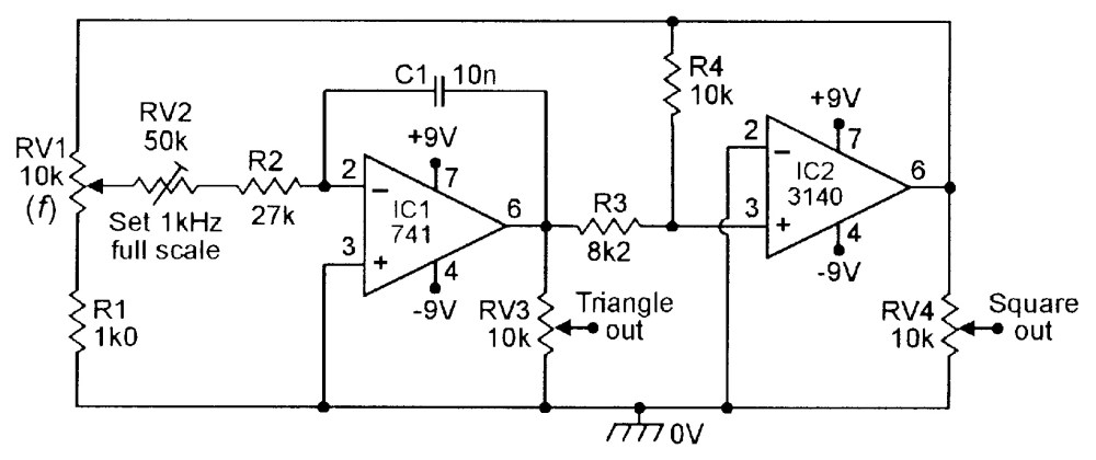 medium resolution of figure 16 100hz 1khz triangle square function generator
