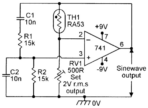 small resolution of figure 3 thermistor stabilized 1khz wien bridge oscillator