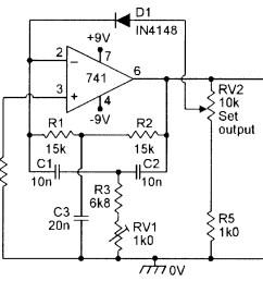 figure 8 diode regulated 1khz twin t oscillator  [ 1201 x 1039 Pixel ]