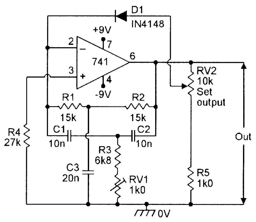 medium resolution of figure 8 diode regulated 1khz twin t oscillator