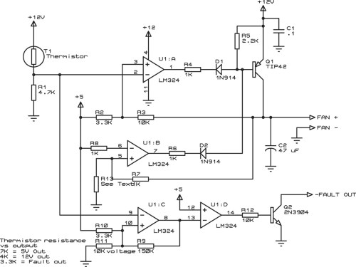 small resolution of schematic of the fan controller circuit t1 is a thermistor mounted to the component needing to be cooled
