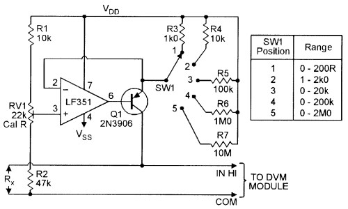 small resolution of five range ohmmeter converter for use with dvm modules