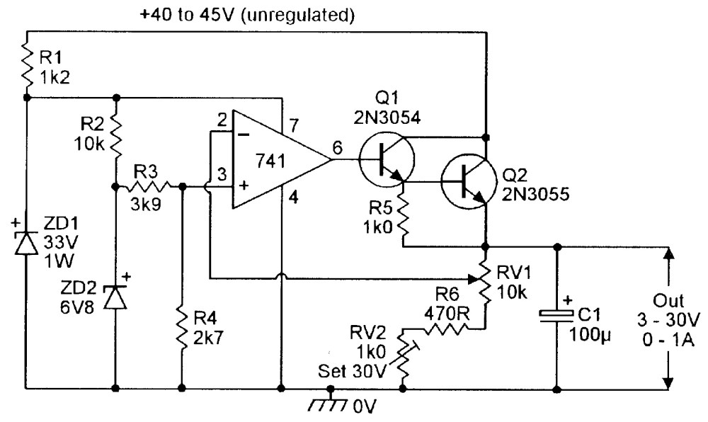 medium resolution of 3v to 30v 0 to 1 amp stabilized psu