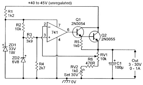 small resolution of 3v to 30v 0 to 1 amp stabilized psu