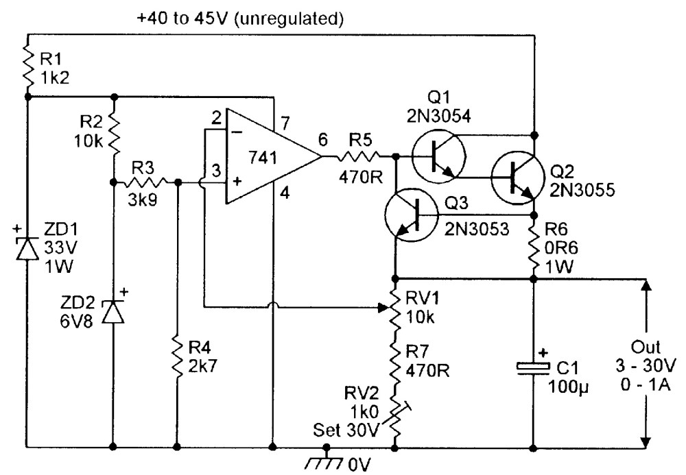 medium resolution of 3v to 30v stabilized psu with overload protection