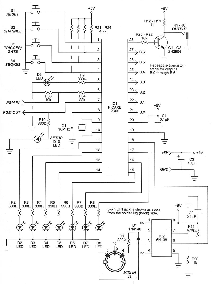 hight resolution of build a midi to logic controller nuts volts magazine midi pcb schematic diagram