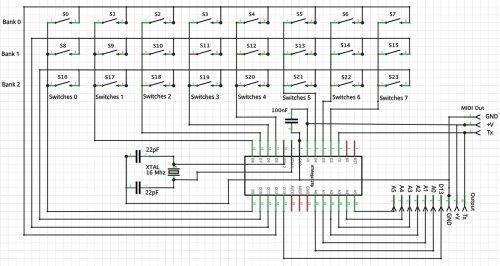 small resolution of midi keyboard wiring diagram build a midi autoharp nuts u0026 volts magazineschematic for the midi autoharp chord keyboard we