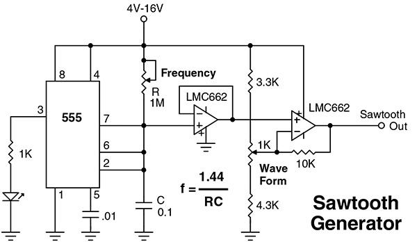 sawtooth wave oscillator using 555 ic