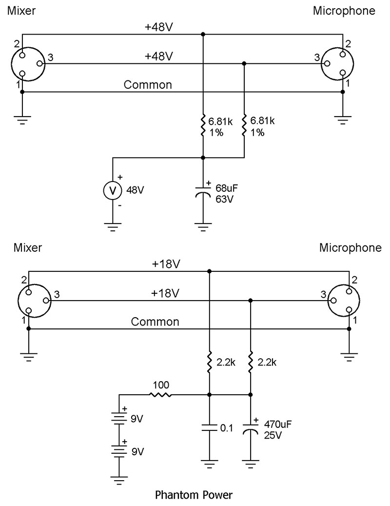 hight resolution of from the q and a nuts volts magazine xlr phantom power schematic phantom power schematic