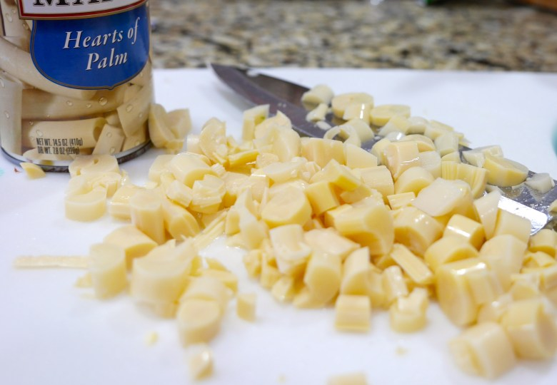 If hearts of palm are new to you, try them out! They taste a little bit like artichoke hearts.
