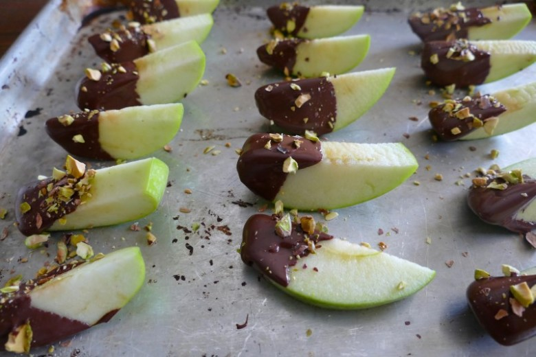 Chocolate Covered Apples with Pistachios