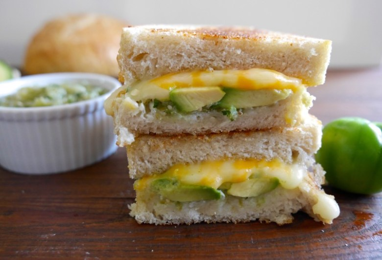Gourmet Grilled Cheese with tomatillo salsa www.nuttynutritionandfitness.com
