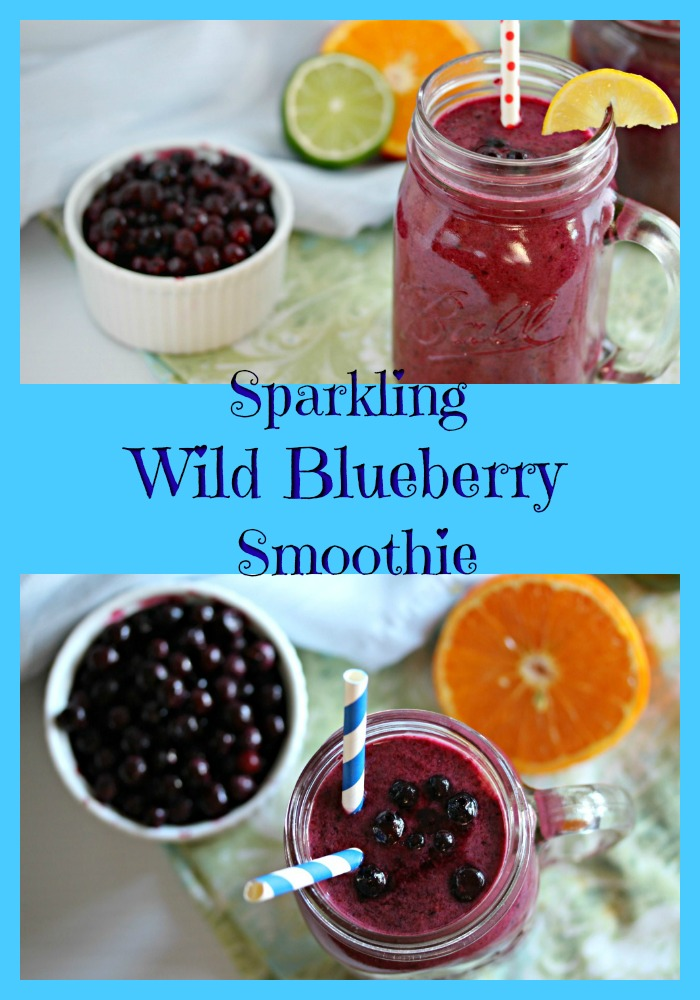 Sparkling Wild Blueberry Citrus Smoothie www.nuttynutritionandfitness.com