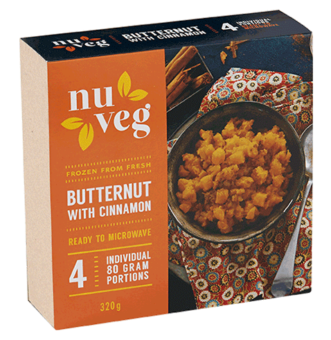 Nuveg frozen vegetables butternut and cinnamon
