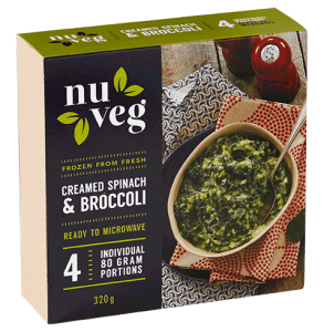 Nuveg frozen vegetables creamed spinach-and-broccoli