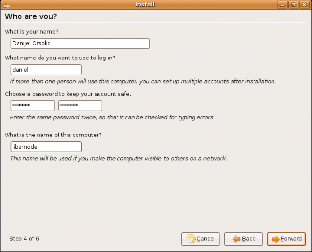 Ubuntu Install: who are you?