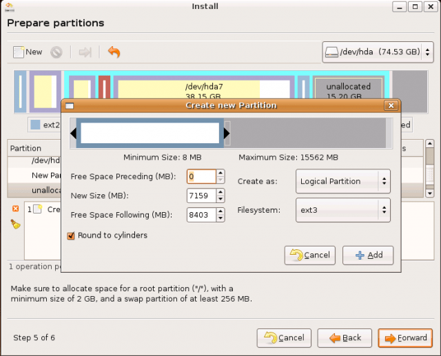 Ubuntu Install: creating new partition