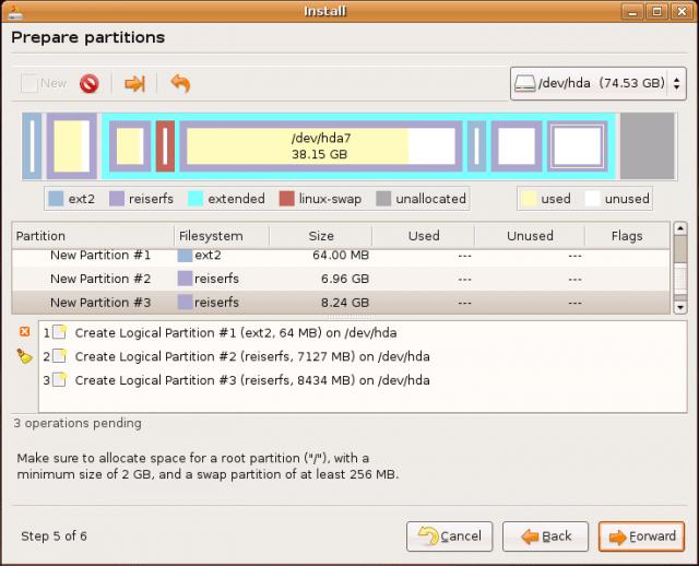 Ubuntu Install: partitioning jobs
