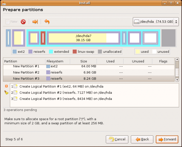 Ubuntu Install: partitioning jobs