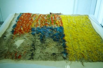 tamamen papağan tüyleriyle işlenen kumaş parçası