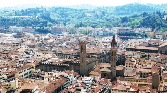 Vue sur le Bargello depuis la Couple du Duomo Florence