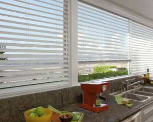 Comfortex Faux Wood Blinds in a family room in Colorado Springs, Colorado