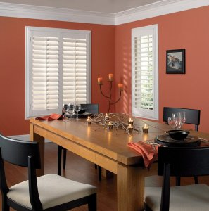 Composite Plantation Shutters in a Colorado Springs Dining Room