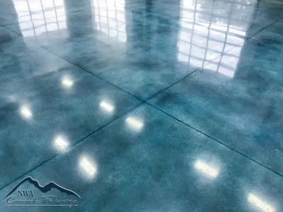 NWA Stained Concrete Polishing - Blue Stained Polished Concrete