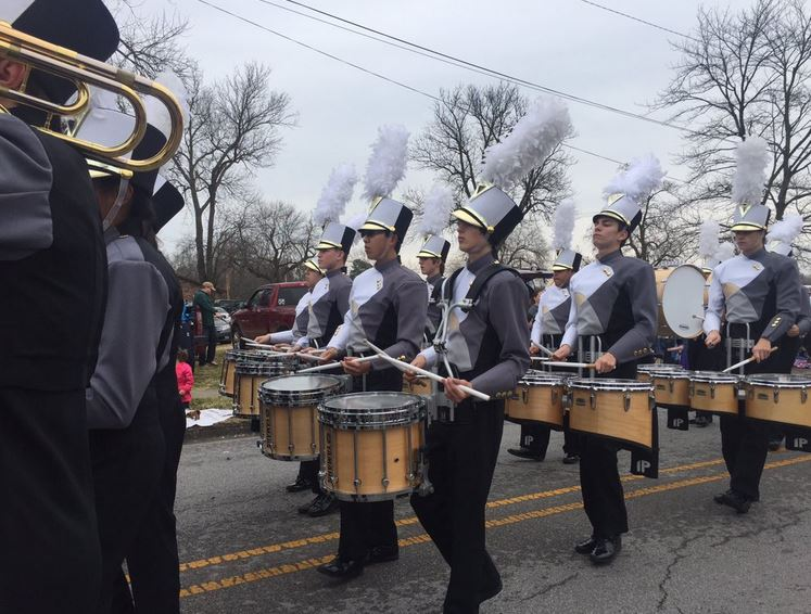 Members of the Bentonville High School Marching Band in the 2015 Christmas Parade