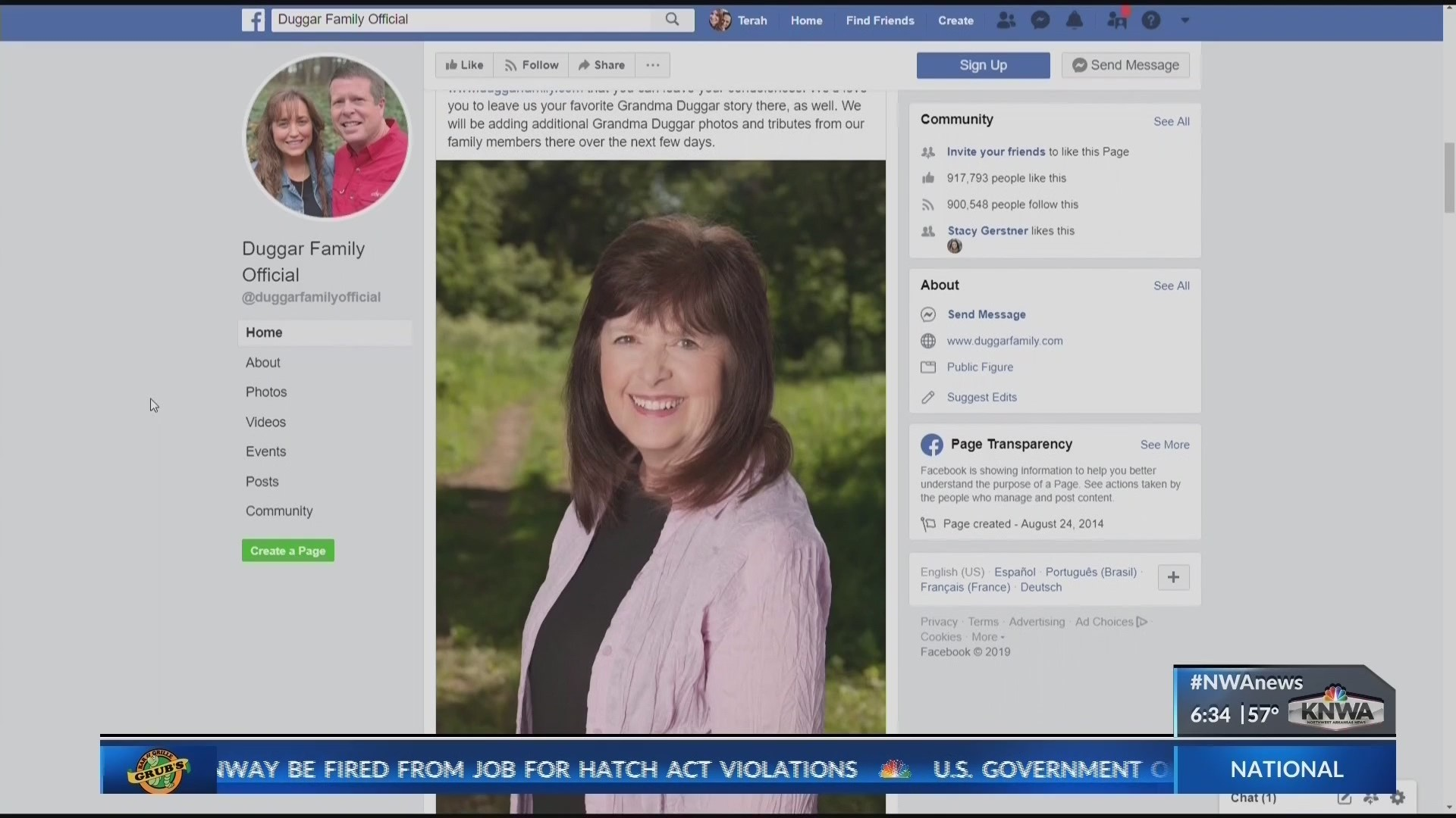 Grandma Duggar dies of accidental drowning (KNWA)
