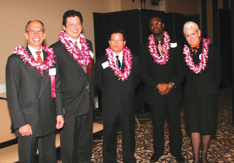 Awardees, from left: Co-CEO of Ben Bridge Jeweler Jon Bridge, vice president of the Boeing Company Paul Nguyen, business consultant at McDonald's Corporation Chang Nguyen, Macy's Federal Way store manager DeRieontray Sparks, and vice president of JP Morgan Chase Foundation Cree Zischke.