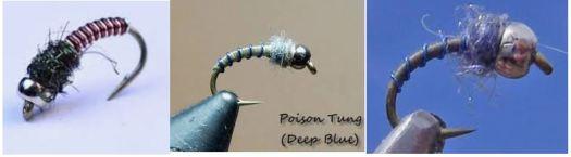 Blue, Deep Blue and Original Poison Tungsten winter nymphs