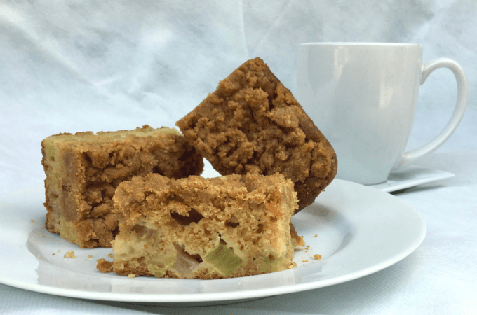 Rhubarb Ginger Coffee Cake with Crumb Topping