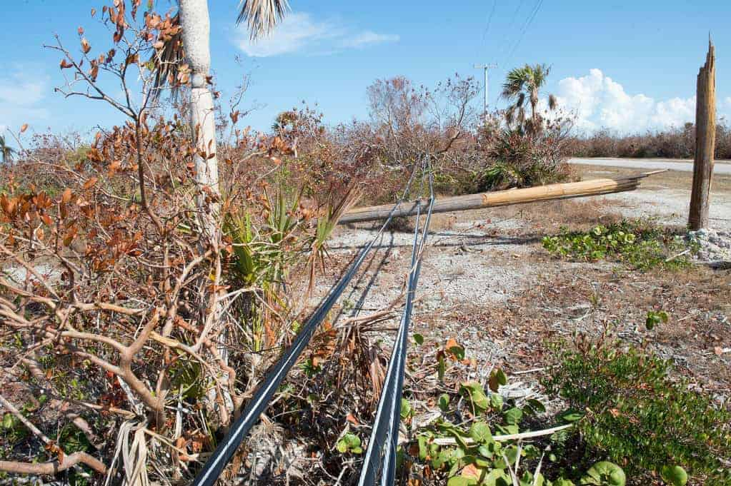 Electric tower snapped in Big Pine Key