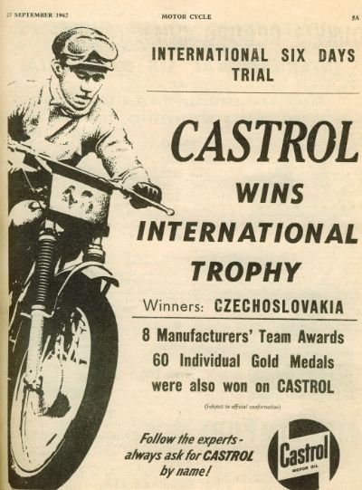 Castrol Oil Advert ISDT 1962