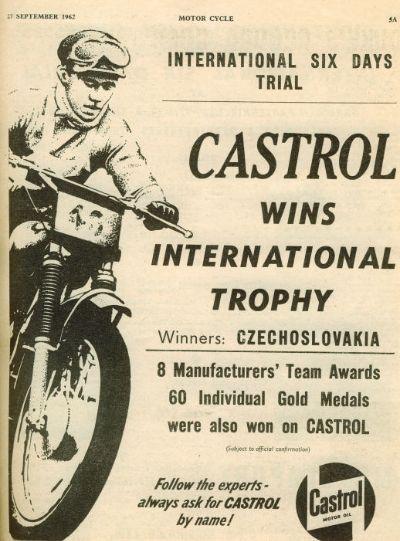 Castrol Oil Advert ISDT 1962