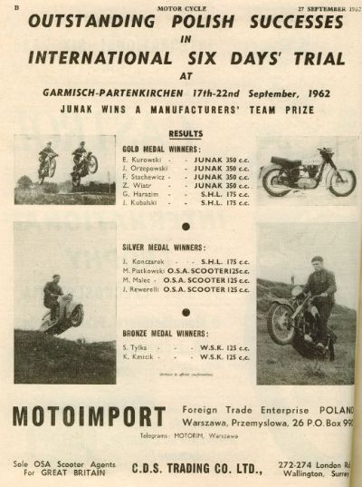 Advert Polish Motorcycle Company ISDT 1962