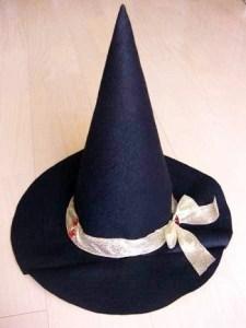 フェルト生地|ハロウィンの魔女帽子完成形