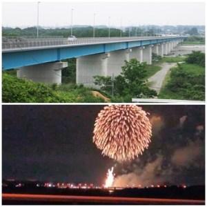 板戸大橋からのうつのみや花火の景色