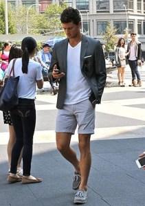 メンズの夏コーデのショートパンツ サマージャケット