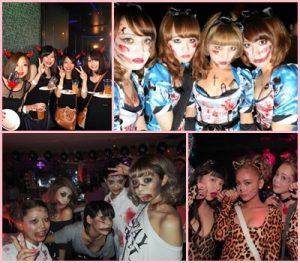 ハロウィンのクラブイベントで仮装をする女性たち
