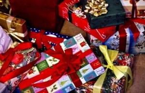 ラッピングされたクリスマスプレゼント