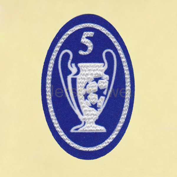 UEFA Champions League 5 Times Trophy light blue Sleeve Soccer Patch  Badge  Timix Patch