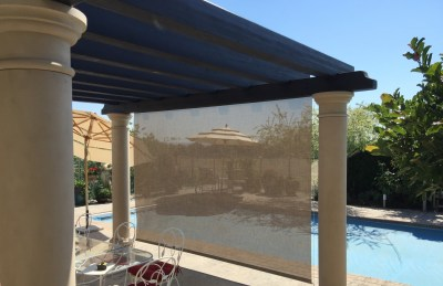 Suntex 90 Rattan Drop Shade On Pergola
