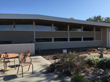 Mocha Window Shades on Mid Century Modern