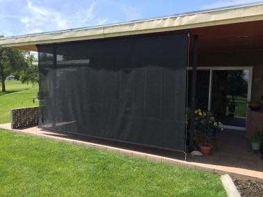 Solar black fabric crank shade