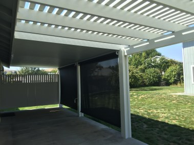 Black Drop Sun Shades on Pergola