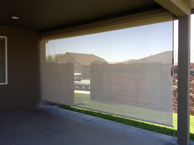 Stucco Boxed Solar Shade Inside Out View